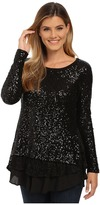 Karen Kane Sequin Knit Lace Inset Top