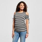 MaCherie Maternity Stripe Print Cold Shoulder Elbow Sleeve Blouse Black