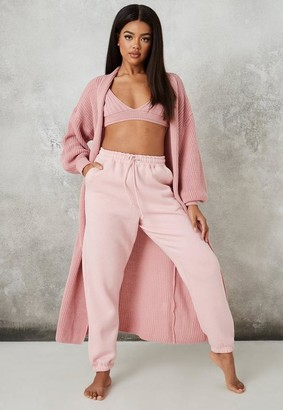 Missguided Pink Co Ord Knit Maxi Batwing Cardigan