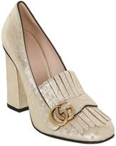 Gucci 105mm Marmont Gg Metallic Leather Pumps