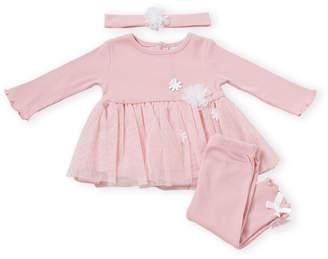 Nicole Miller Newborn Girls) Two-Piece Dress & Leggings Set