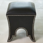 The Well Appointed House Global Views Black Leather Moroccan Poof Seat or Ottoman