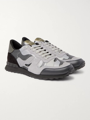 Valentino Rockrunner Camouflage-Print Canvas, Leather And Suede Sneakers
