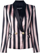 Balmain striped single button blazer - women - Cotton/Polyester/Viscose - 40