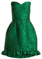 Emilio De La Morena Golde Floral-jacquard Strapless Mini Dress - Womens - Green