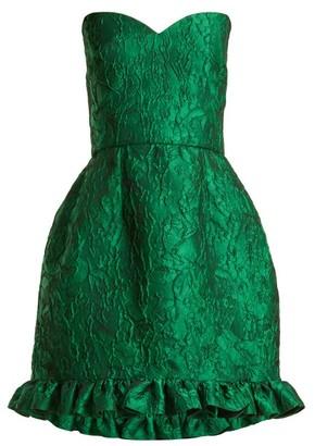 Emilio De La Morena Golde Floral-jacquard Strapless Mini Dress - Green