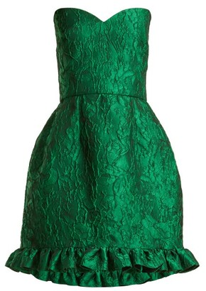 Emilio De La Morena Golde Floral-jacquard Strapless Mini Dress - Womens - Green