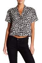 CODEXMODE Leopard Print Short Sleeve Button Down Shirt