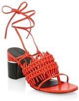 3.1 Phillip Lim Drum Ankle-Strap Crochet Leather Sandals
