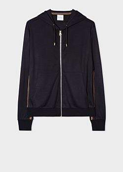 Men's Dark Navy Zip-Front Wool Hoodie With 'Artist Stripe' Trim