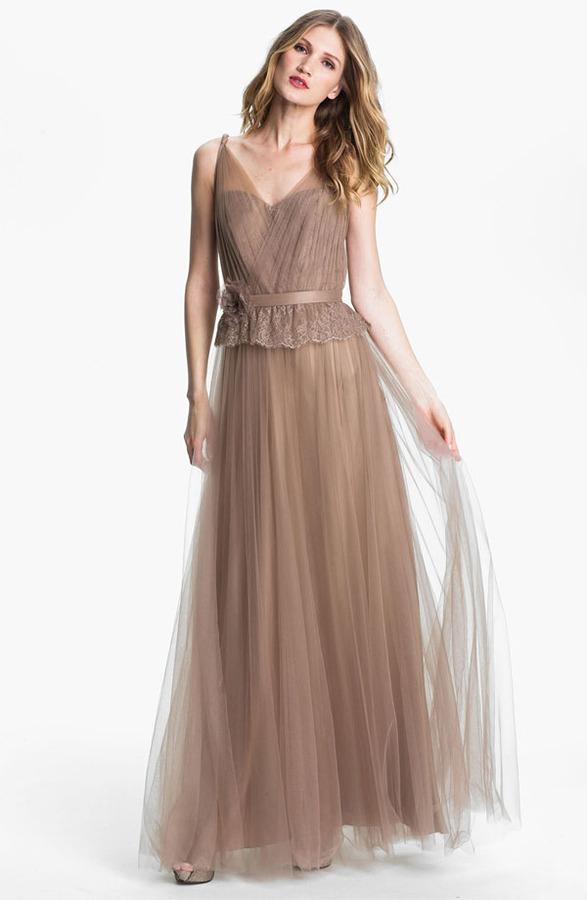 Hilton Kathy Lace Peplum Tulle Overlay Gown