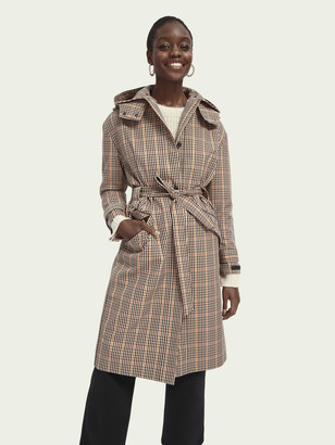 Scotch & Soda Checked hooded trench coat | Women