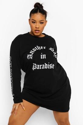 boohoo Plus Slogan Long Sleeve T-shirt Dress