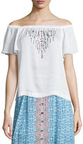 Nanette Lepore Off-the-Shoulder Flounce Top W/ Beading