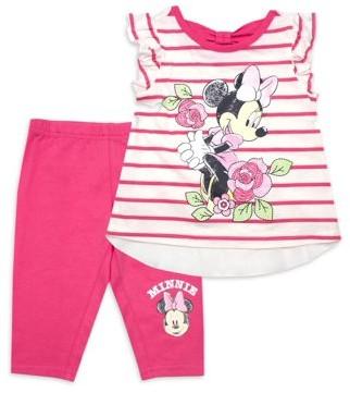 Minnie Mouse Disney Baby Girl Stripe Top & Capri Legging Outfit, 2pc set