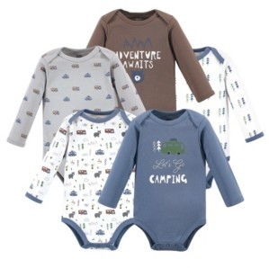 Luvable Friends Baby Girls and Boys Camping Long-Sleeve Bodysuits, Pack of 5