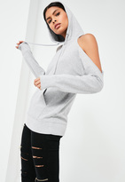 Missguided Grey Cold Shoulder Hoodie