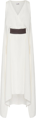 Brunello Cucinelli Belted Sleeveless V-Neck Crepe Midi Dress