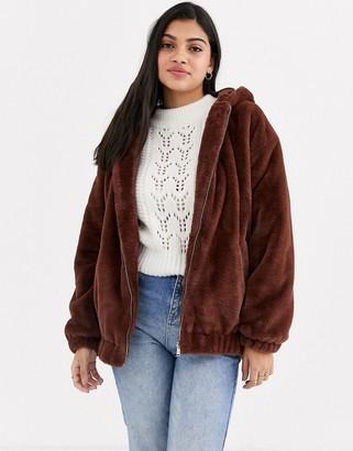 New Look fur hooded bomber jacket in dark brown