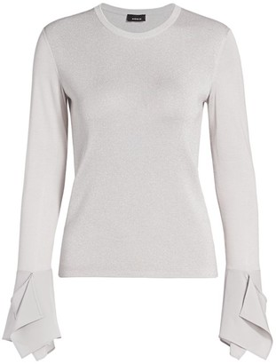 Akris Chiffon-Cuff Silk Lurex Knit Sweater