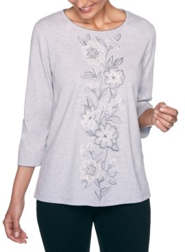 Alfred Dunner Petite Madison Avenue Center Floral Embroidered Top