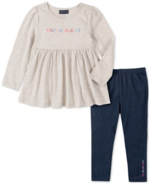 Calvin Klein Jeans Baby Girls 2-Pc. Logo-Print Tunic & Denim Leggings Set