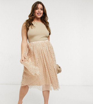 Lace & Beads Plus exclusive tulle midi skirt in rose gold metallic heart