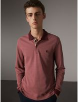 Burberry Long-sleeve Cotton Piqué Polo Shirt , Size: M, Brown