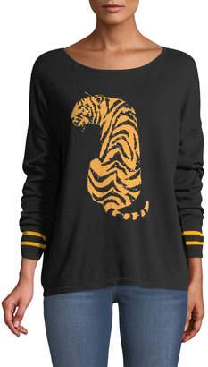 Joan Vass Petite Boat-Neck Long-Sleeve Sequin-Striped Tiger-Intarsia Sweater
