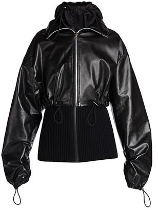 Bottega Veneta 2-In-1 Leather Knit Jacket