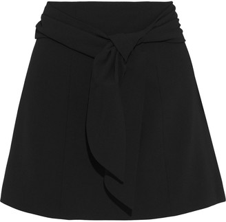 Alice + Olivia Mayson Tie-front Crepe Mini Skirt