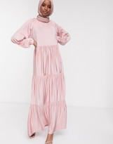 Asos Design DESIGN maxi smock dress with tiering in pink