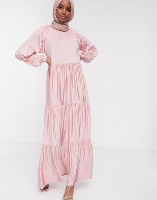 ASOS DESIGN maxi smock dress with tiering in pink