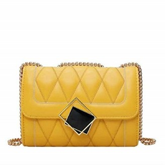 Rare Fig Women Handbag Small Quilted PU Leather Shoulder Bag - Evening Party Crossbody Bag - Yellow