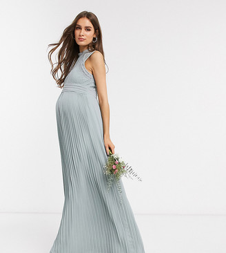 TFNC Maternity bridesmaid lace back maxi dress in sage