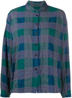 YMC Round-Collar Plaid Shirt
