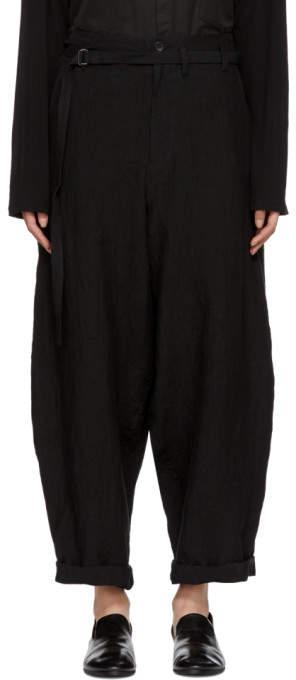 Yohji Yamamoto Black Linen Belted Trousers