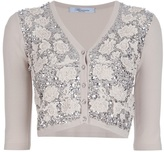 Blumarine floral sequinned cropped cardigan