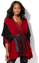 New York & Co. Tie-Front Poncho - Colorblock