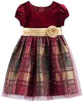 Bonnie Jean Toddler Girl Velvet & Plaid Sparkle Dress