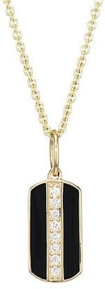 Sydney Evan Diamond, Black Enamel & 14K Yellow Dog Tag Pendant Necklace