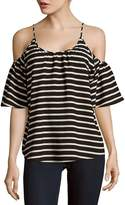 French Connection Women's Polly Striped Cold Shoulder Top