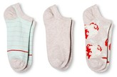 Merona Women's Low-Cut Socks 3-Pack Floral Oatmeal One Size