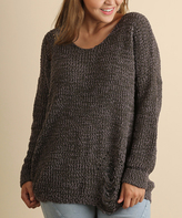 Umgee USA Ash Brown Scoop Neck Sweater - Plus Too