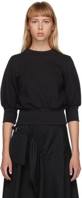 3.1 Phillip Lim Black French Terry Puff Sleeve Sweatshirt