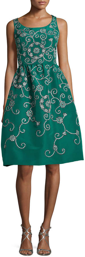 Oscar de la Renta Embroidered Floral Scroll Full-Skirt Party Dress, Green