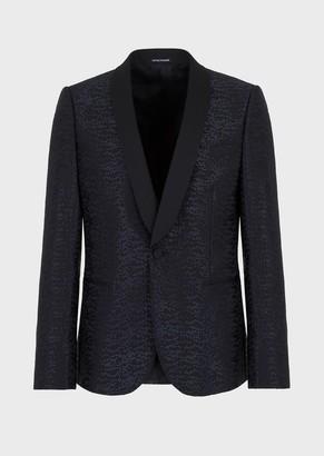 Emporio Armani Smoking Jacket In Light-Wool Brocade