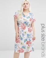 Koko Plus Shift Dress With Side Splits In Rose Print