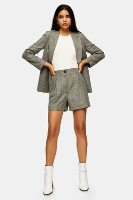 Topshop CONSIDERED Mint Check Shorts