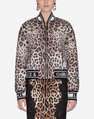 Dolce & Gabbana Bomber Jacket In Light Printed Nylon